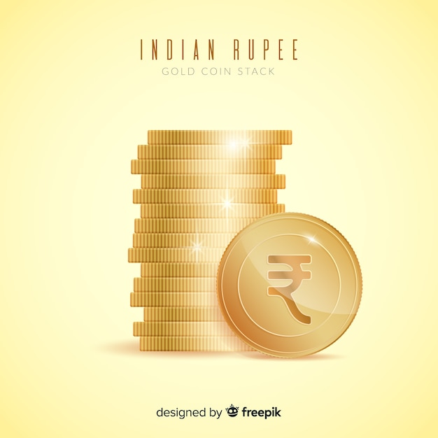 Realistic indian rupee gold coin stack Free Vector