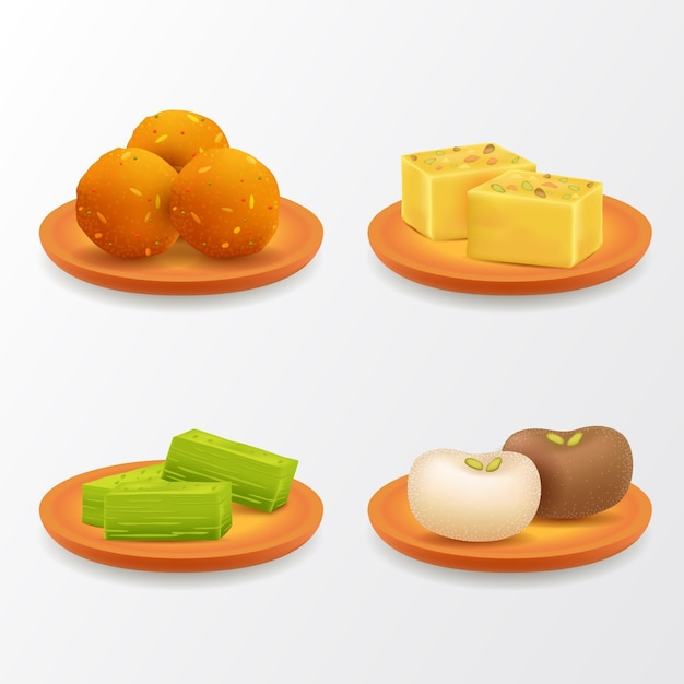 Realistic indian sweet collection Free Vector