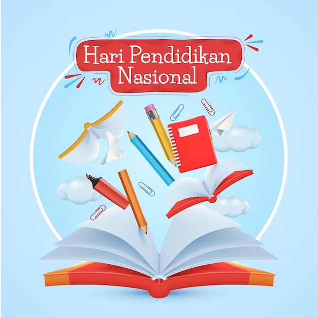 Realistic indonesian national education day illustration Premium Vector