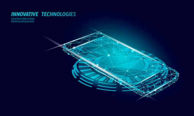 Realistic inductive charging pad. smartphone wireless cordless change power station. modern innovative technology phone device magnetic electrical load energy battery charger  illustration. Premium Vector