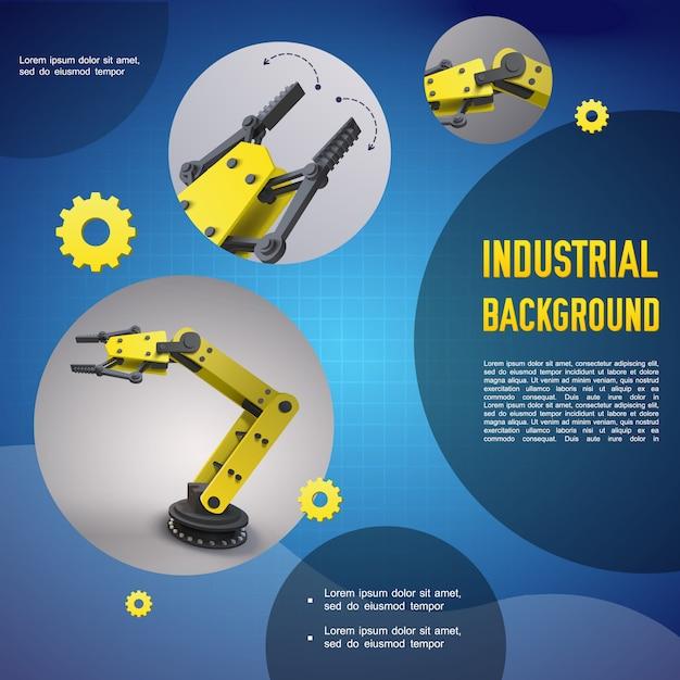 機械的な自動化されたロボットアームとマニピュレーターを備えた現実的な工業用のカラフルなテンプレート 無料ベクター
