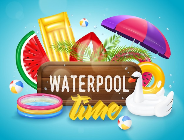 Realistic inflatable pool with swimming equipment horizontal poster on blue  with water drops Free Vector