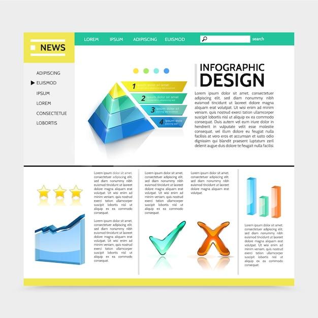 마케팅 피라미드 그래프 다채로운 막대 확인 표시 리본 배너 텍스트 일러스트와 함께 현실적인 인포 그래픽 디자인 웹 사이트 무료 벡터