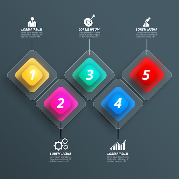 Realistic infographic elements pack Free Vector
