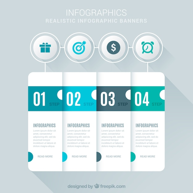 Realistic infographic steps Free Vector