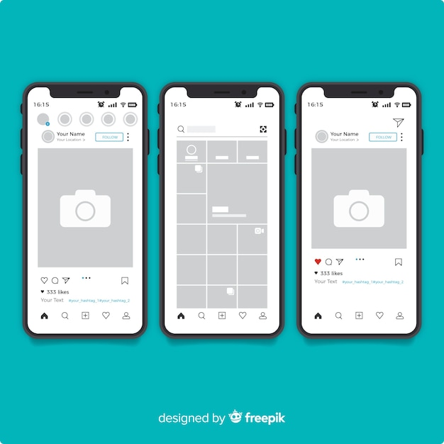 Realistic instagram photo frame on iphone collection Free Vector