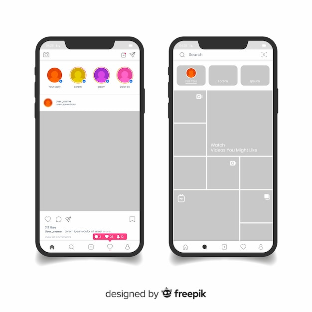 Realistic instagram photo frame on iphone collection Vector