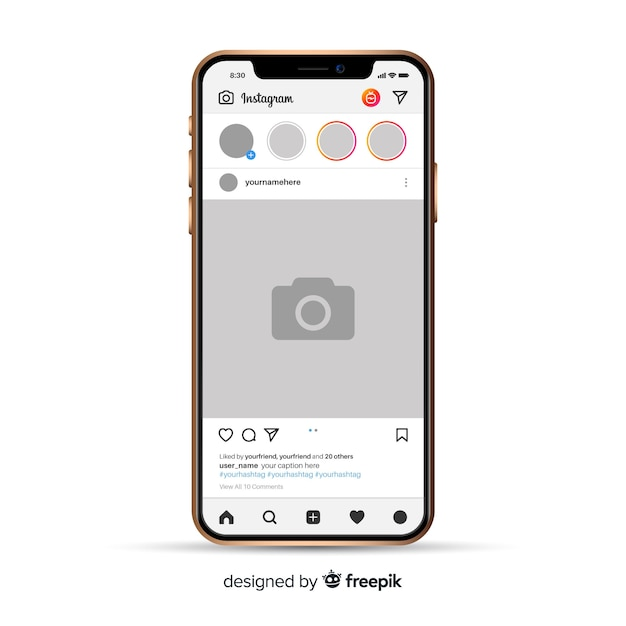 Realistic instagram photo frame on iphone Free Vector