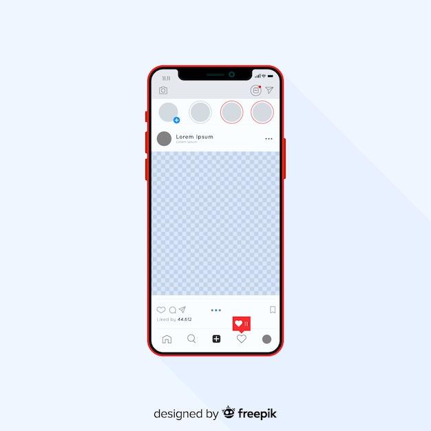 아이폰 템플릿에 현실적인 인스 타 그램 사진 프레임 무료 벡터