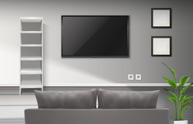 Interno realistico del soggiorno con divano grigio e sceneggiatura televisiva Vettore gratuito