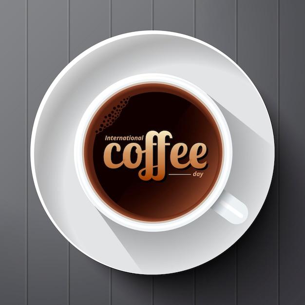 Giornata internazionale realistica del caffè Vettore gratuito