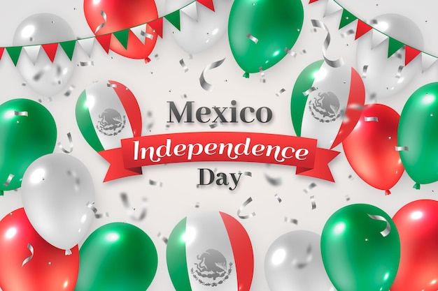 Realistic international day of mexico balloons background Free Vector