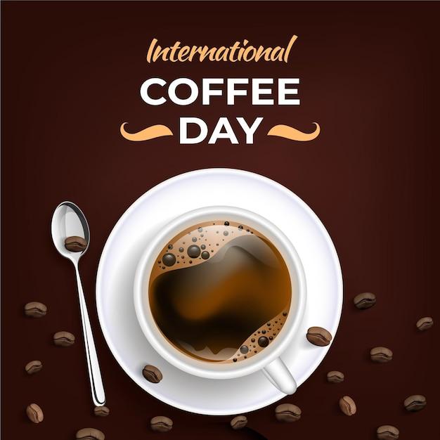 Реалистичный международный день кофе Бесплатные векторы
