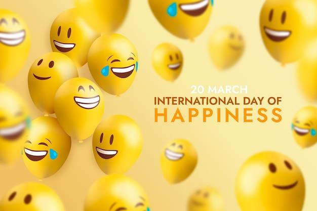 이모티콘과 풍선으로 행복 일러스트의 현실적인 국제 날 프리미엄 벡터