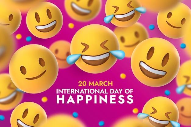 Emojis와 함께 행복 그림의 현실적인 국제 날 프리미엄 벡터