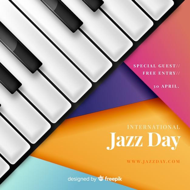 Realistic international jazz day background Free Vector