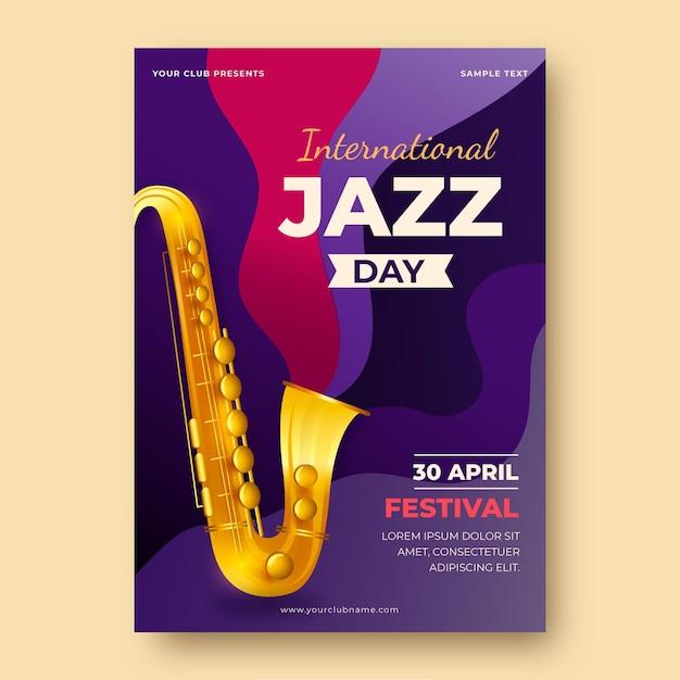 Реалистичный шаблон плаката международного дня джаза Бесплатные векторы