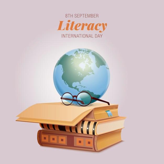 Realistica giornata internazionale dell'alfabetizzazione Vettore gratuito
