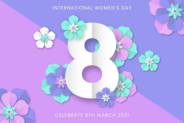 Реалистичная иллюстрация международного женского дня в бумажном стиле Бесплатные векторы