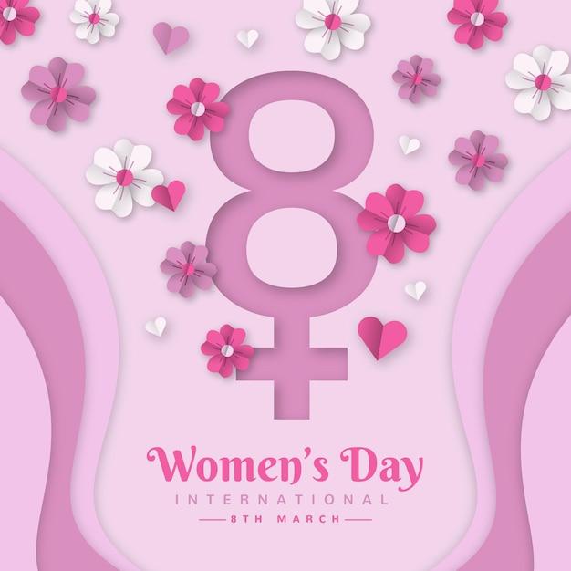 Реалистичная иллюстрация международного женского дня в бумажном стиле Premium векторы
