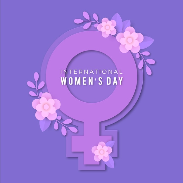 Realistic international women's day illustration in paper style Free Vector