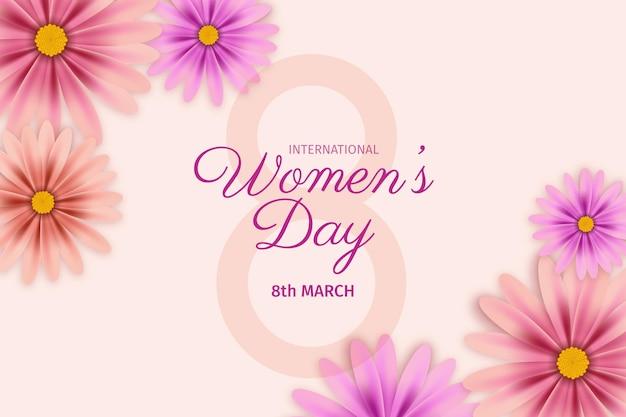Illustrazione realistica della giornata internazionale della donna con i fiori Vettore gratuito