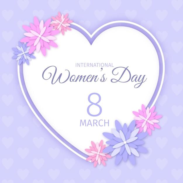 마음과 꽃으로 현실적인 국제 여성의 날 그림 무료 벡터