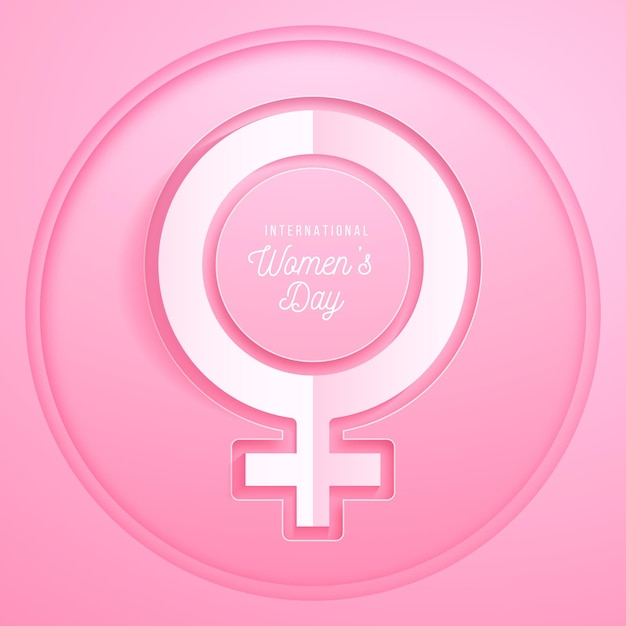 Realistic international women's day in paper style Premium Vector
