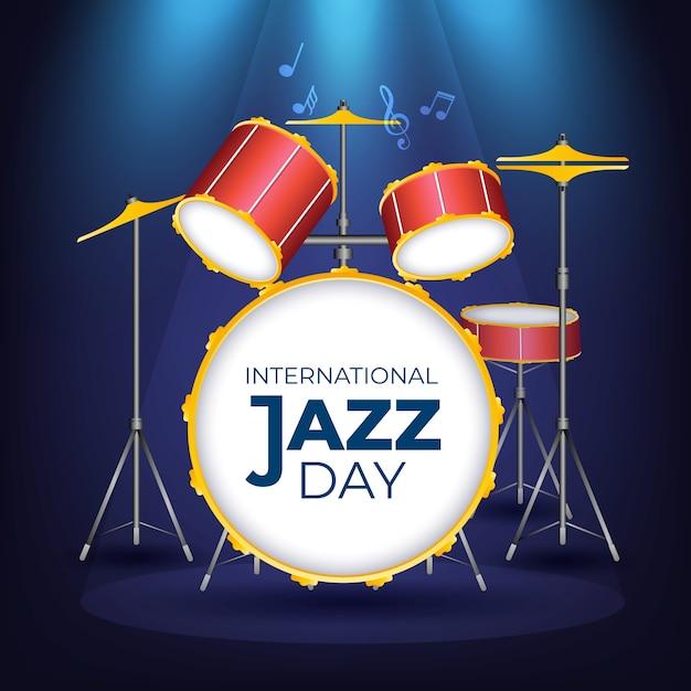 現実的な国際ジャズの日の概念 無料ベクター