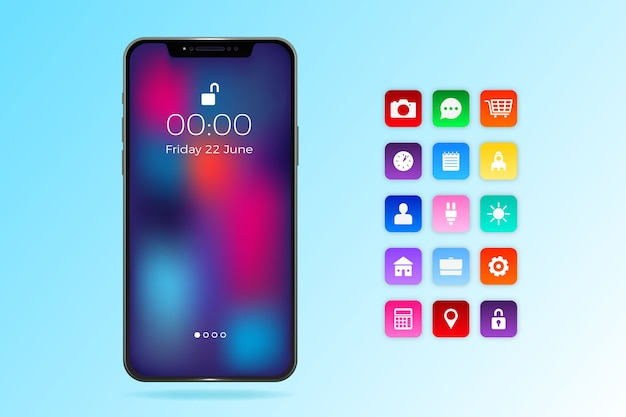 Realistic iphone 11 with apps in gradient blue shades Free Vector