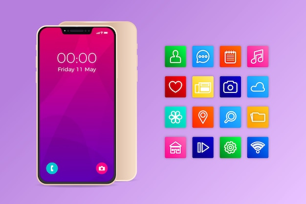 Realistic iphone 11 with apps in gradient violet shades Free Vector
