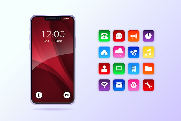 Realistic iphone 11 with apps Free Vector