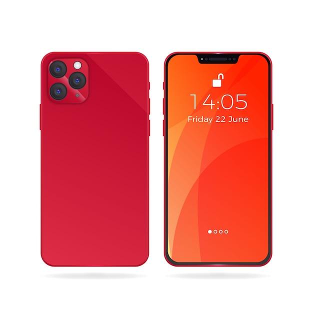 Реалистичный iphone с обоями Бесплатные векторы