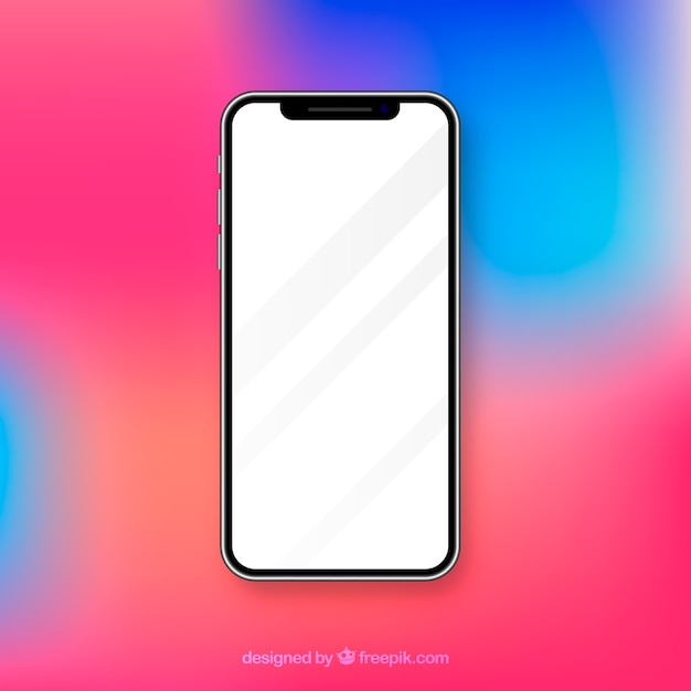 흰색 화면이있는 현실적인 iphone x 무료 벡터