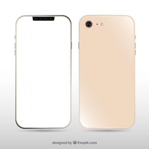 Realistic iphone x with white screen Free Vector