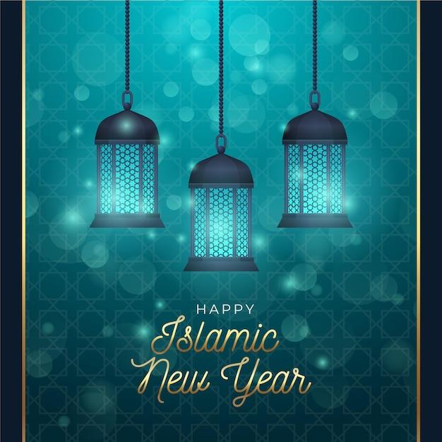 Реалистичная исламская новогодняя концепция Бесплатные векторы
