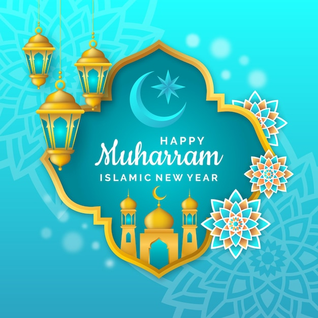 Realistic islamic new year poster concept Free Vector