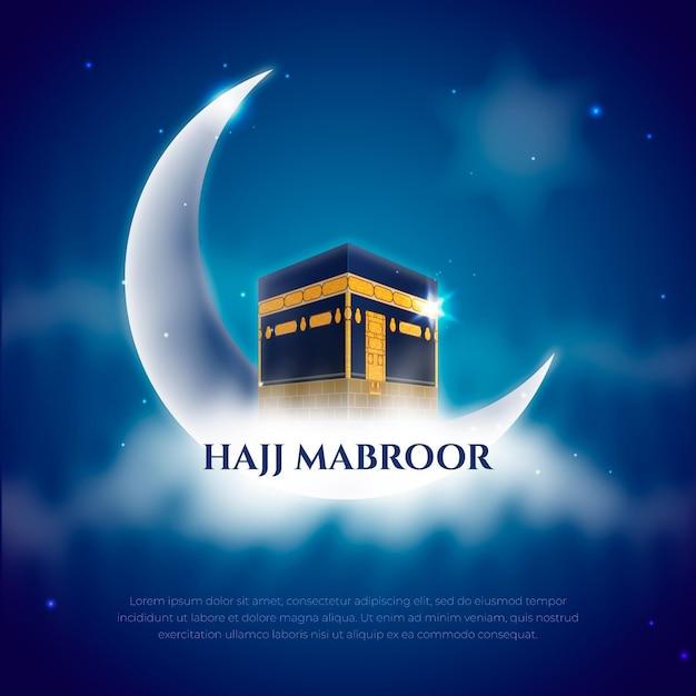 Реалистичная концепция исламского паломничества хаджи Premium векторы