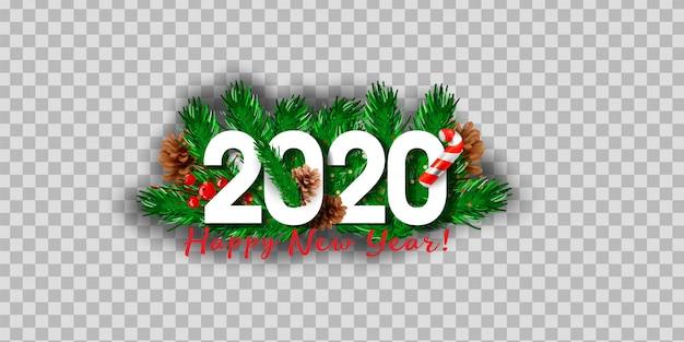 Christmas 2020 Logo Premium Vector   Realistic isolated 2020 logo with christmas tree