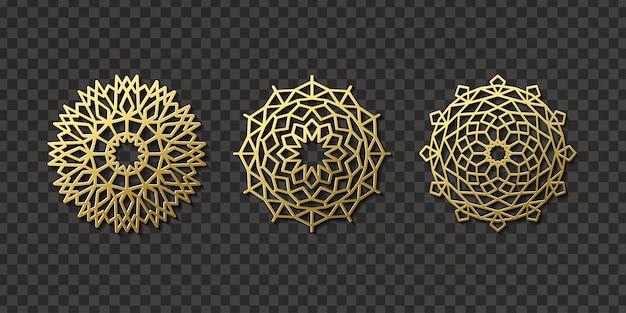 装飾と透明な背景のカバーのための現実的な孤立したアラビア語飾りパターン。東のモチーフと文化のコンセプト。 Premiumベクター