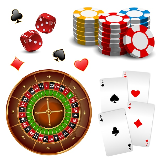 Realistic isolated and colored casino online games icon set with equipments and attributes Free Vector