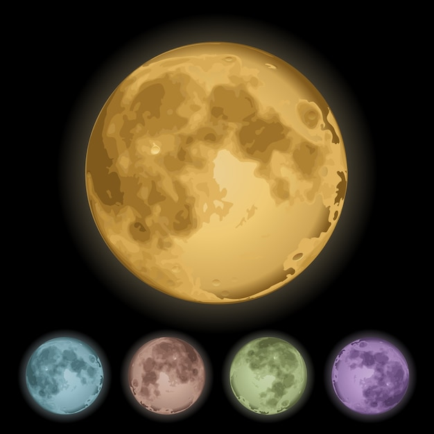 Realistic isolated full moon set Free Vector