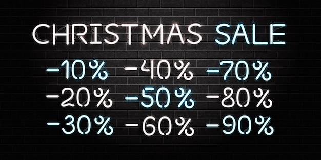 Realistic isolated neon sign of christmas sale logo on the wall background. concept of happy new year. Premium Vector