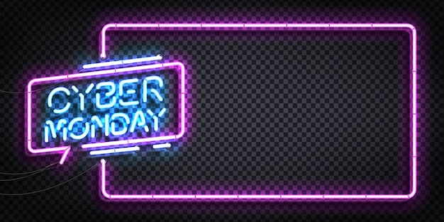 Realistic isolated neon sign of cyber monday Premium Vector