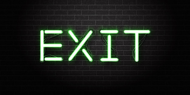 Реалистичная изолированная неоновая вывеска логотипа exit для шаблона. Premium векторы