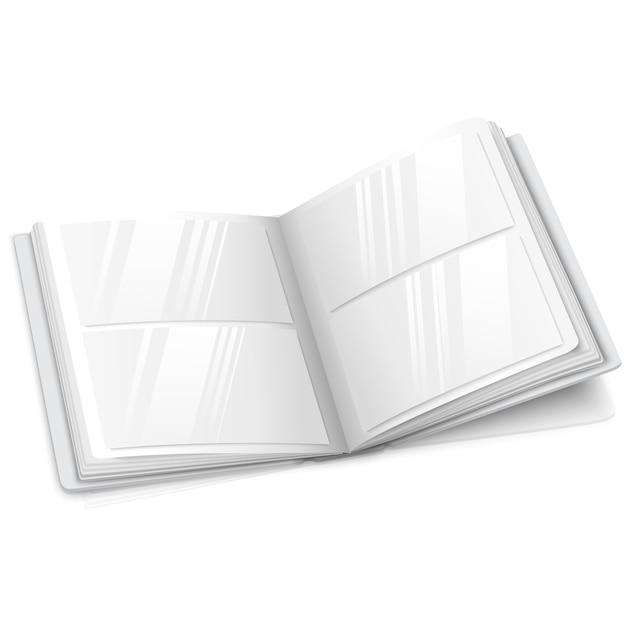 白い空白のベクトルで開かれた現実的な開いたフォトアルバム Premiumベクター