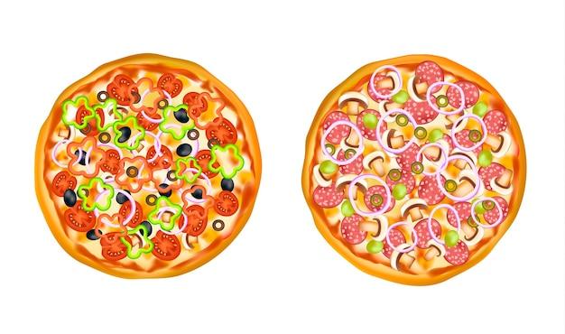 Реалистичные изолированные набор пиццы Бесплатные векторы