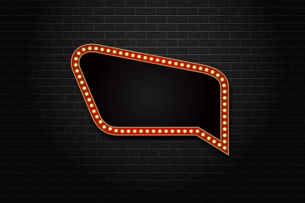 Realistic isolated speech bubble retro marquee billboard with electric light lamps. Premium Vector
