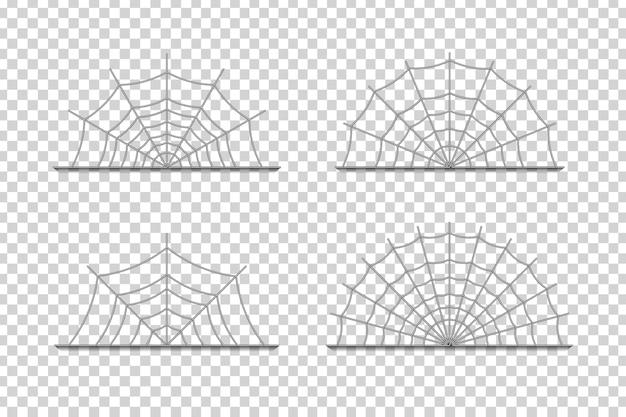 Реалистичные изолированные границы паутины Premium векторы