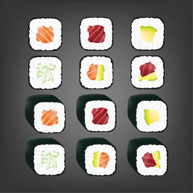 リアルな日本の巻き寿司 Premiumベクター